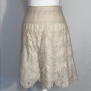 BCBGMaxAzria Tiered Cotton Eyelet Lace Skirt Tan